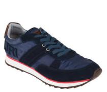 Sneaker, Materialmix, Used-Look, Logo-Stickerei, Gummisohle