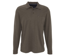 Poloshirt, Langarm, Brusttasche, Grau