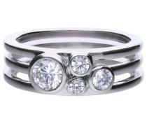 Ring, Sterling Silber 925, -Zirkonia, zus. 0,74 ct
