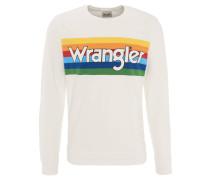 Sweatshirt, Label-Schriftzug, Regenbogen-Optik, Baumwolle, Weiß