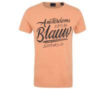 T-Shirt, Baumwolle, Print, Rundhalsausschnitt, Orange