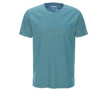 T-Shirt, gestreift, V-Ausschnitt, Brusttasche, Rollsaum