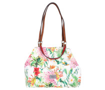"Shopper ""Tropica"", Allover-Print, Emblem, Weiß"