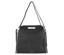 Handtasche, schmale Tragegriffe, silber, Leder, Reißverschluss, Schwarz