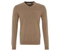 Pullover, Strick, V-Ausschnitt, reine Baumwolle, Beige