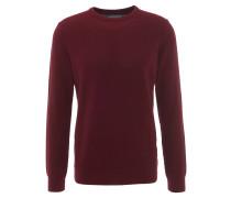 Pullover, strukturiert, Rundhalsausschnitt, gerippte Bündchen, Rot