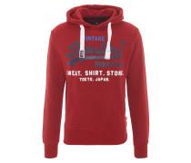 Sweatshirt, meliert, Print, Kapuze, Rot