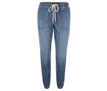 Stoffhose, Jeans-Optik, Kordelzug, Blau