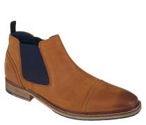 Chelsea-Boots, zweifarbig, Leder, Blockabsatz