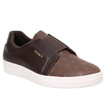 "Sneaker ""Bobbi"", Leder-Optik, Logo-Druck, Braun"