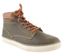 Sneaker, Leder, Used-Look, Kontrastnähte, Oliv