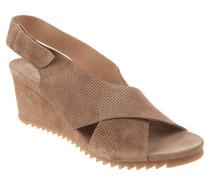 "Sandaletten ""Baby Silk"", Leder, Perforation, Keilabsatz, Braun"