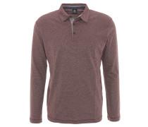 Polo-Shirt, Langarm, Baumwoll-Mix, meliert, Rot