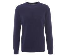 Pullover, strukturiert, Rundhalsausschnitt, gerippte Bündchen, Blau