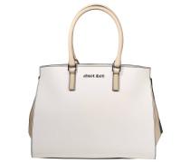 Handtasche, dreifarbig, Struktur-Mix, Weiß