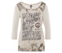 Shirt, 3/4-Arm, Pailletten, Beige