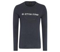 Langarmshirt, meliert, Baumwoll-Anteil, Print, Blau