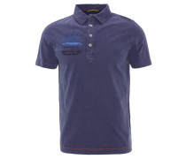 Poloshirt, Stickereien, halbe Knopfleiste, Blau