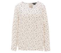 Blusenshirt, Langarm, geometrisches Muster, Knopfleiste hinten, Weiß