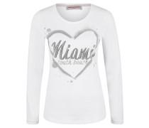 Langarmshirt, Print, Strass-Dekor, Baumwoll-Mix, Weiß