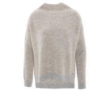 Pullover, meliert, verlängertes Rückenteil, Grau