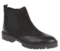 Chelsea Boots, Budapester-Stil, Plateau, Leder, Schwarz
