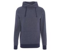 Sweatshirt, meliert, Wickelkragen, Kapuze, Kängurutasche, Blau