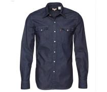 Freizeithemd Jeans, Regular Fit, Druckknopfleiste, Rinsed Waschung, Blau