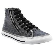 Sneaker, Glitzergarn, Logo-Emblem, Reißverschluss, Silber