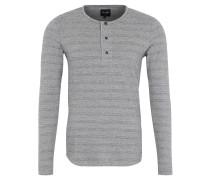 Langarmshirt, Henley-Stil, Streifen, Grau