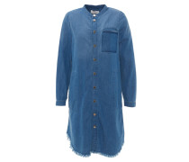 Midikleid, Jeans-Optik, Brusttasche, Fransen, Blau