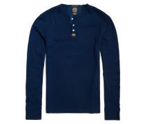 Langarmshirt, meliert, Henley-Kragen, Blau