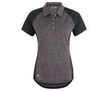 Poloshirt, Mesh-Besatz, Leicht, Melange, für Damen, Schwarz