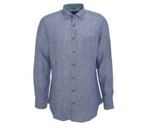 Freizeithemd, Langarm, Button-Down-Kragen, Leinen, Blau