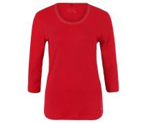 Shirt, verzierter Kragen, 3/4-Ärmel, Rot