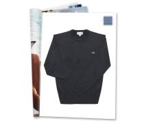 Pullover, Feinstrick, Woll-Anteil, Logo, für Herren, Blau