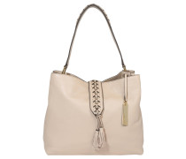 "Handtasche ""Ancel Hobo"", dekorative Schließe, Leder, Beige"