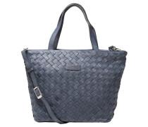 Handtasche, Leder, Flecht-Optik, abnehmbarer Umhängeriemen, Blau