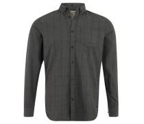 Freizeithemd, reine Baumwolle, meliert, Karo-Muster, Grau