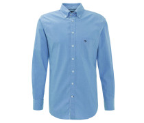 Freizeithemd, Baumwolle, Button-Down-Kragen, Logo-Stickerei, Blau