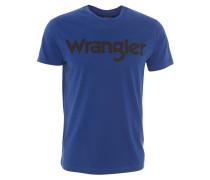 T-Shirt, Marken-Aufdruck, Rundhals, Baumwolle, Blau