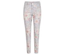 "Jeans ""Antonia"", floral, Skinny Fit, Mid Rise, Türkis"