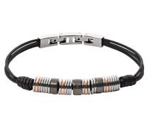 Armband Leder schwarz mit Edelstahl-Röllchen beschichtet JF01654998