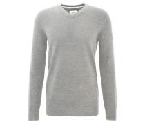 Pullover, meliert, Baumwoll-Strick, V-Ausschnitt, Grau