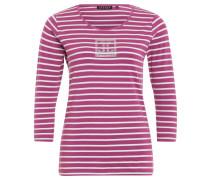 Shirt, 3/4-Ärmel, Streifen-Design, Strass-Dekor, Pink