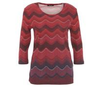 Shirt, 3/4-Ärmel, Zickzack-Muster, Rot