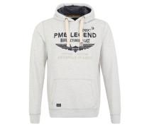 Sweatshirt, meliert, Stickerei, Print, Kapuze, Weiß
