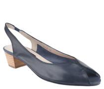 Sandaletten, Leder, Stretch-Riemen, Ziernähte, Blau