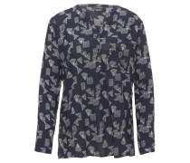 Blusenshirt, Langarm, geometrisches Muster, Knopfleiste, Brusttasche, Blau