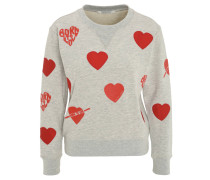 Sweatshirt, Herz-Patches, Print
